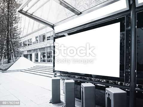 841502736 istock photo Mock up Banner Bus Station with Public Bicycle parking 691782248