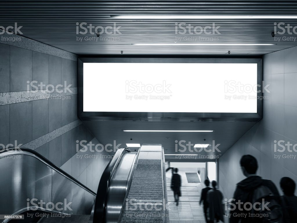 Mock up Banner in subway with escalator people walking Public building stock photo