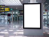 Mock up Banner Media Indoor Airport Signage information with People walking Travel concept