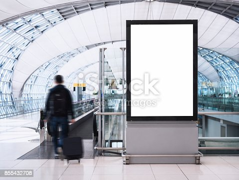 istock Mock up Banner Media light box with people Public Building 855432708