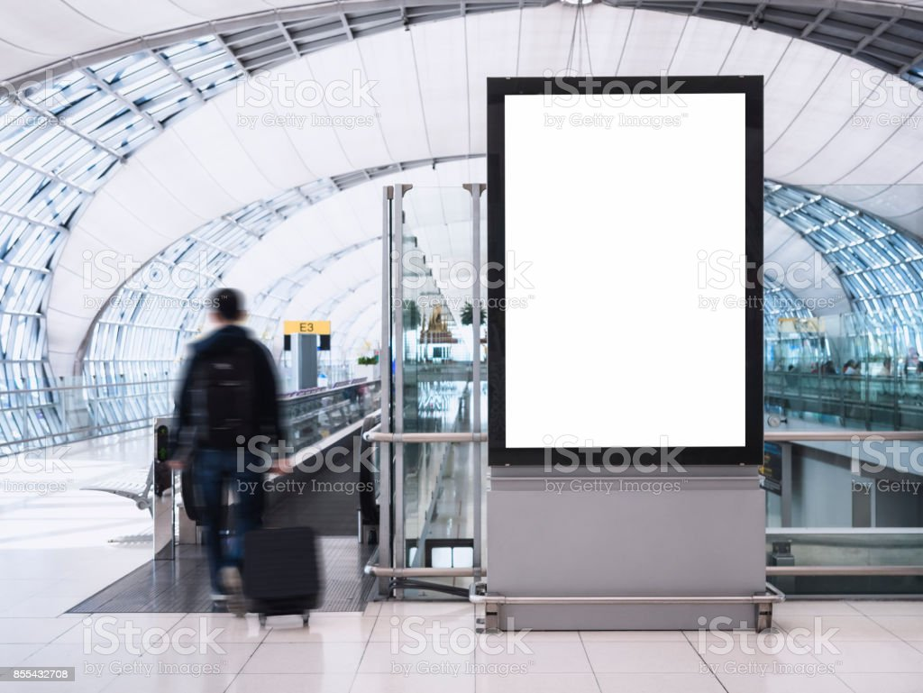 Mock up Banner Media light box with people Public Building stock photo