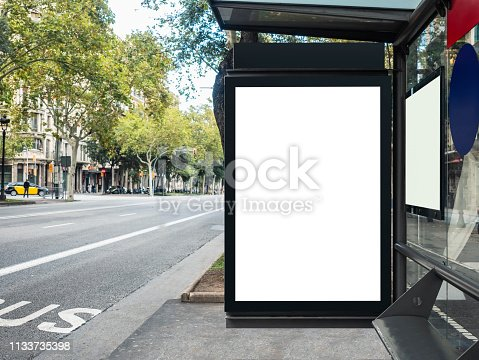 istock Mock up Banner template at Bus Shelter Media outdoor city street 1133735398