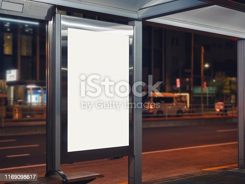 841502736 istock photo Mock up Banner template at Bus stop Media outdoor street 1169098617
