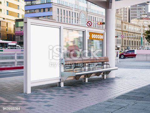 istock Mock up Banner template at Bus Stop Media outdoor street Sign display 943993264