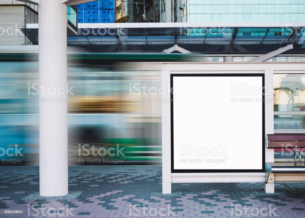 mock up banner template bus stop media outdoor advertisement sign