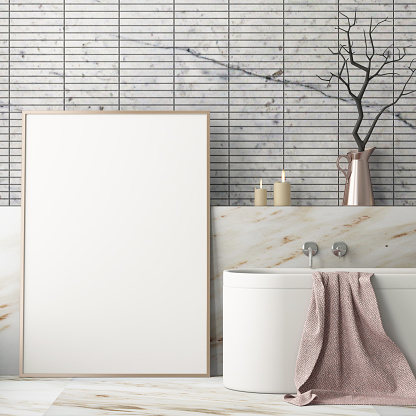 istock mock up bathroom in a modern style 3d 970846986