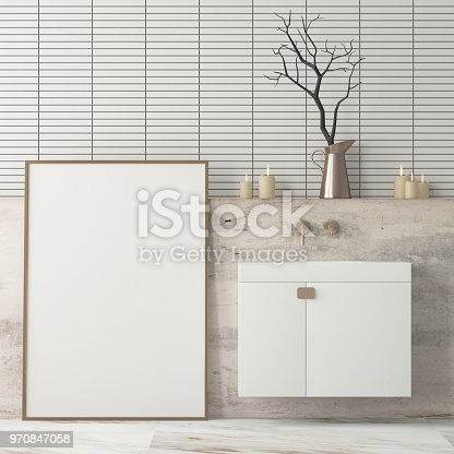 istock mock up bathroom in a modern style 3d 970847058