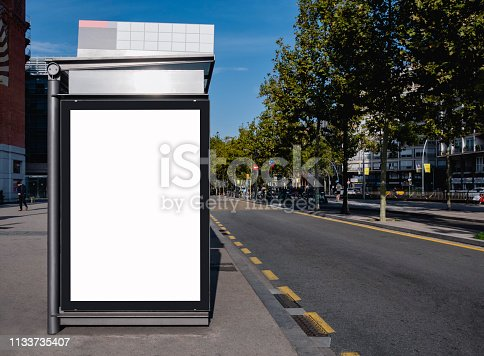 841502736 istock photo Mock up Billboard Banner at Bus Shelter Media outdoor street Sign 1133735407