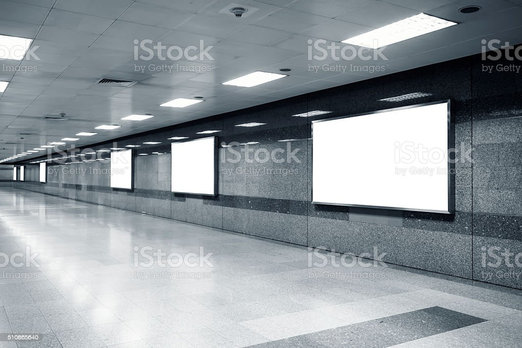 Mock up Billboard Banner Light box template in subway station stock photo