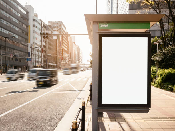 mock up billboard banner template at bus shelter media outdoor - ad template stock photos and pictures