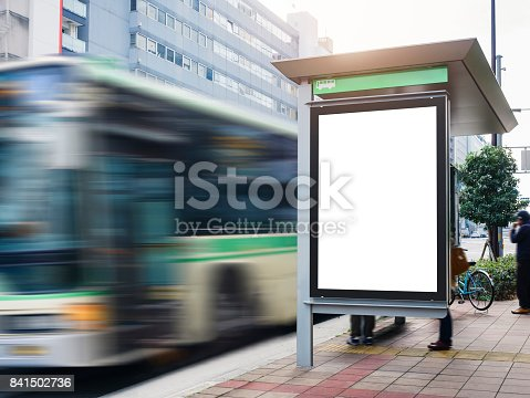 istock Mock up Billboard Banner template at Bus Shelter Media outdoor street 841502736
