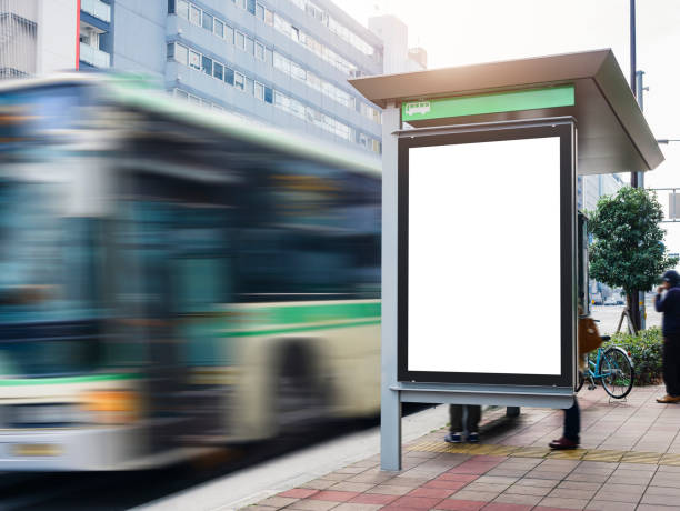 Mock up Billboard Banner template at Bus Shelter Media outdoor street stock photo