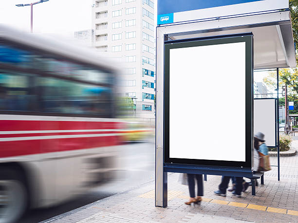 Mock up Billboard Banner template at Bus Shelter stock photo