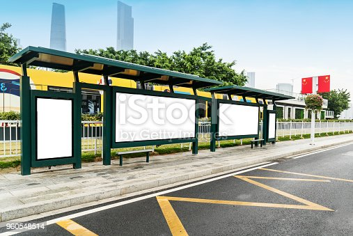 841502736 istock photo Mock up Billboard Light box at Bus Shelter outdoor street Sign display 960548514