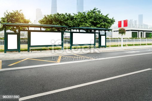 841502736 istock photo Mock up Billboard Light box at Bus Shelter outdoor street Sign display 960551590