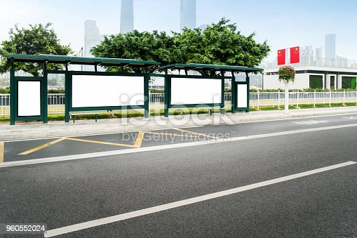 841502736 istock photo Mock up Billboard Light box at Bus Shelter outdoor street Sign display 960552024