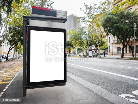 841502736 istock photo Mock up Billboard template at Bus Shelter Media outdoor street in city 1133735440