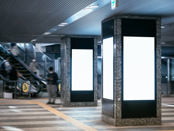 mock up blank banners media display in public building interior blur people - station stock pictures, royalty-free photos & images