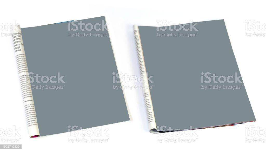 Beyaz arka plan üzerinde izole boş dergisi sayfa yukarı alay - Royalty-free ABD Stok görsel