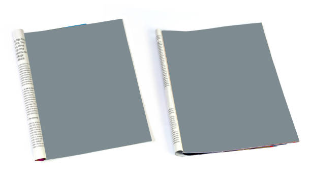 Mock up Blank magazine page isolated on white background stock photo