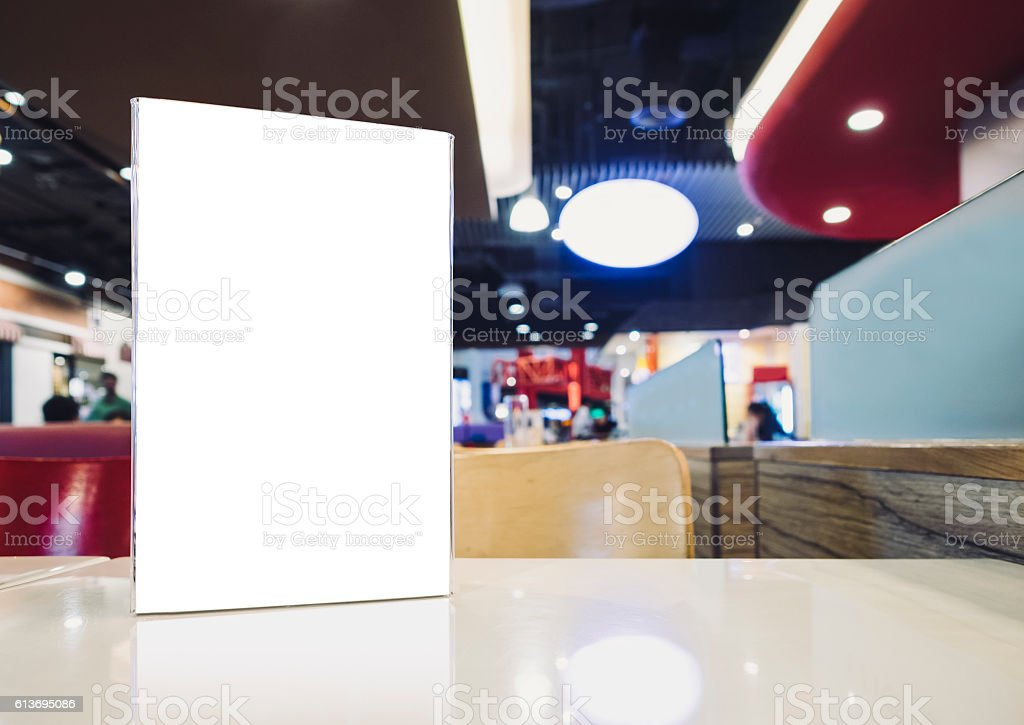 Mock up Blank Menu stand on Table Bar restaurant cafe stock photo