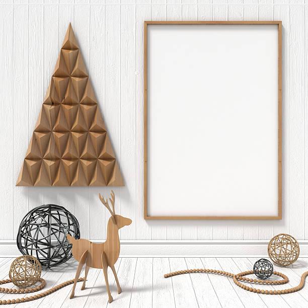 mock up leere bilderrahmen, weihnachten dekoration. 3 d render - karten wandkunst stock-fotos und bilder