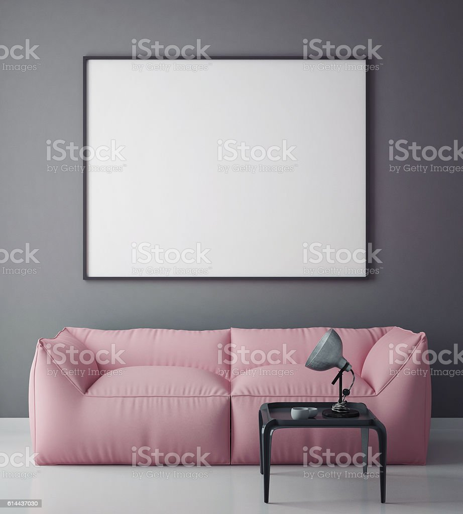 Mock Up Blank Poster On The Wall Hipster Living Room Royalty Free Stock Photo