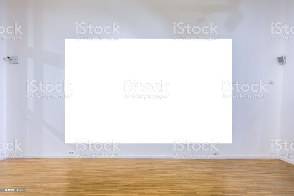 Mock up blank poster in gallery interior