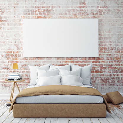 istock mock up blank poster on the wall of bedroom 488055282