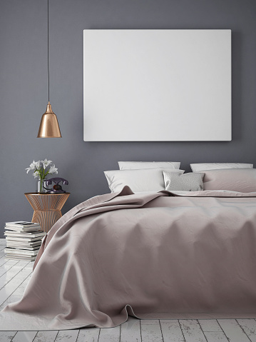 istock mock up blank poster on the wall of bedroom 504382568