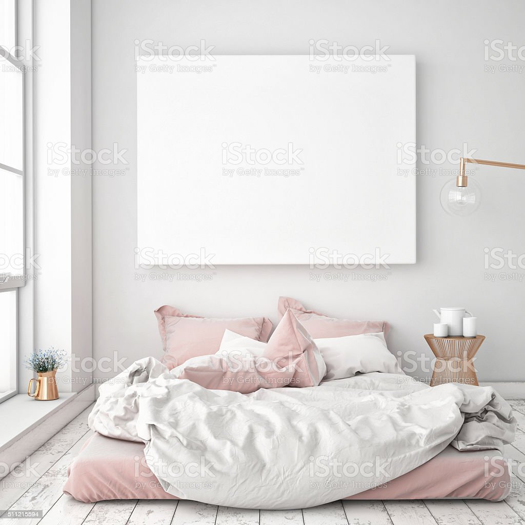 mock up blank poster on the wall of bedroom, stock photo