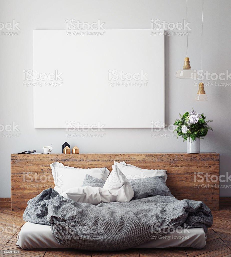 Mock Up Leere Poster An Der Wand Mit Schlafzimmer Lizenzfreies Stock Foto