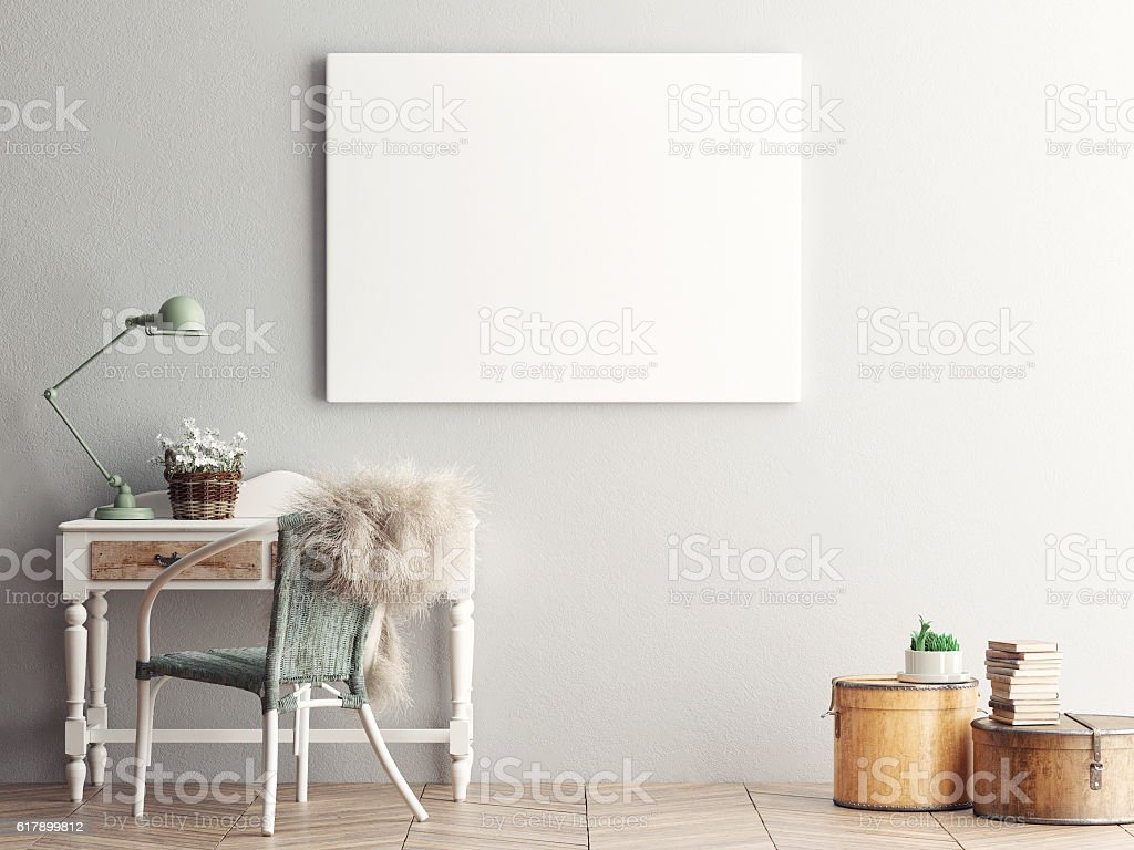 Mock up blank poster on the wall of  living room stock photo