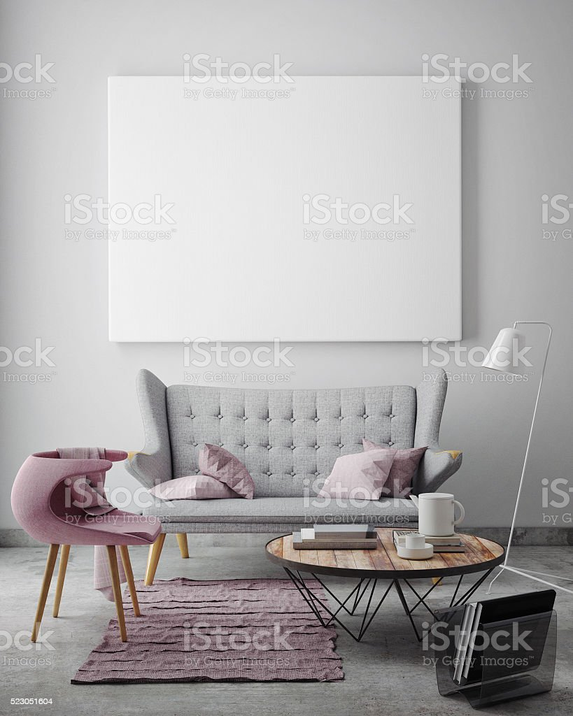 Mock Up Blank Poster On The Wall Of Livingroom Stock Photo & More ...