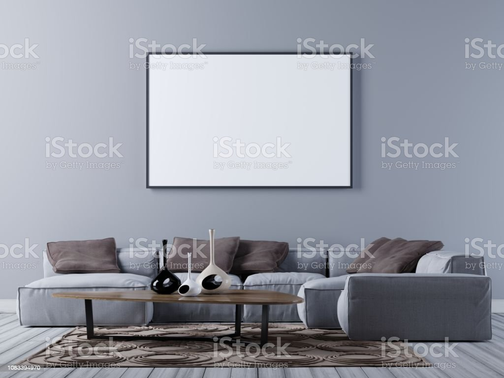 mock up blank poster on the wall of modern living room with corner sofa stock photo