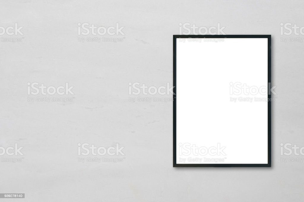 Mock Up Blank Poster Picture Frame Hanging On White Marble Wall ...