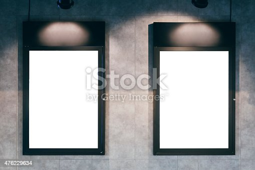 istock Mock up Blank poster Vertical frame on wall 476229634