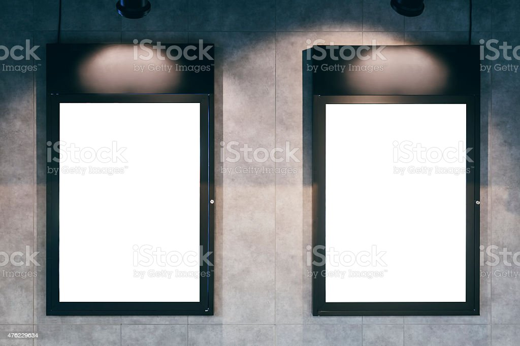Mock up Blank poster Vertical frame on wall stock photo