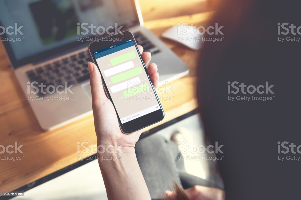 Mock up Blank template chat box for text. Chating and messaging concept stock photo