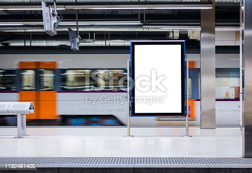 Mock up Board Banner Blank Poster in Subway Train station Blur Train moving background