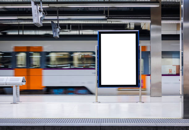 Mock up Board Banner Poster in Subway Train station Blur Train moving background Mock up Board Banner Blank Poster in Subway Train station Blur Train moving background underground stock pictures, royalty-free photos & images