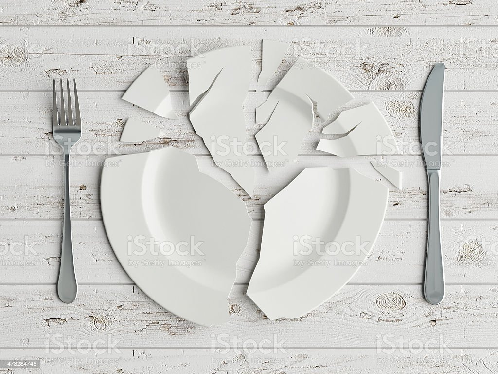 Mock up broken plate on white wooden table stock photo
