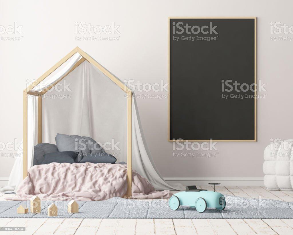 Mockup Tafel In Das Kinderzimmer 3drendering Stockfoto und mehr ...