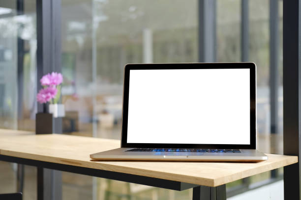mock up : computer display for mockup in office interior. - asian with phone house background stock photos and pictures