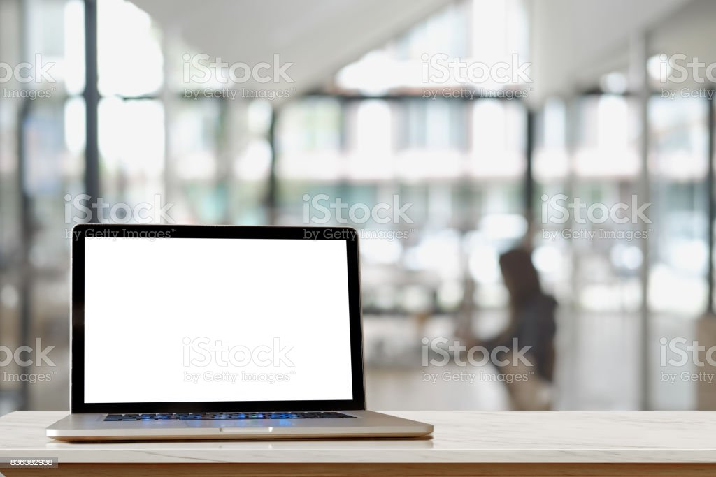 Mock up : Computer display for mockup in office interior. stock photo