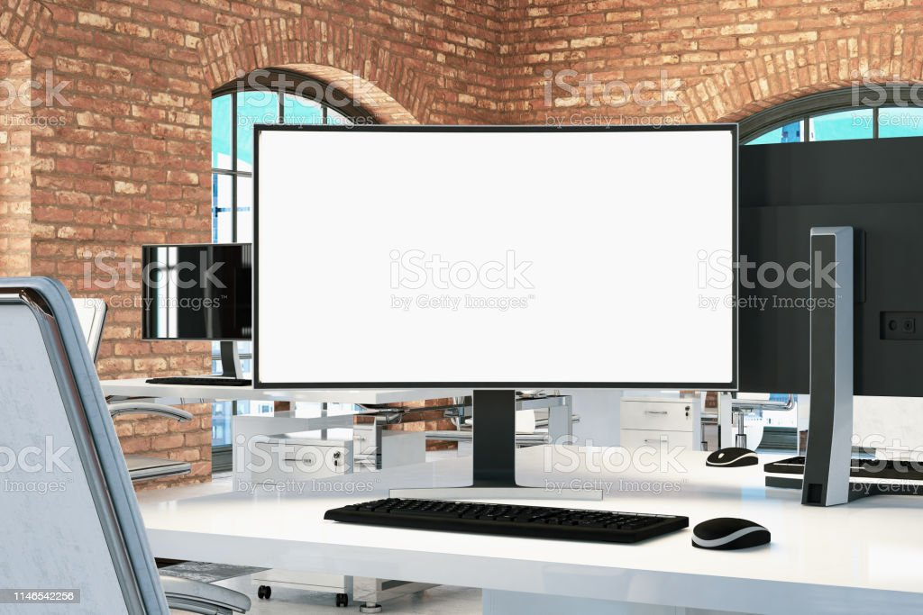 Mock Up Computer Monitor at the Office. 3D Render
