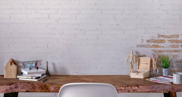 Mock up desk work space. stock photo