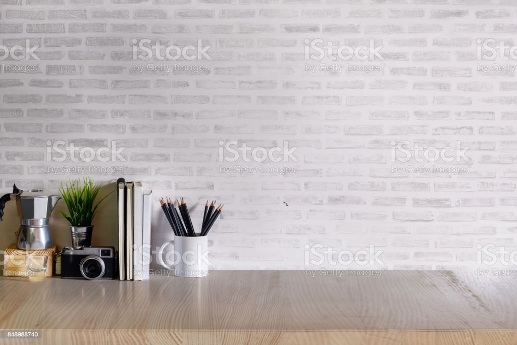 Mock up desk work space. stock photo