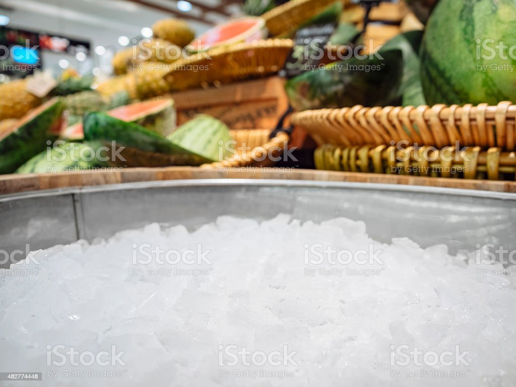 Mock up Display Crushed ice Fresh Fruit Food and drink stock photo