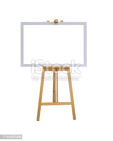 istock mock up empty blank white canvas board with realistic wooden easel stand isolated on white background with clipping path 1144532056